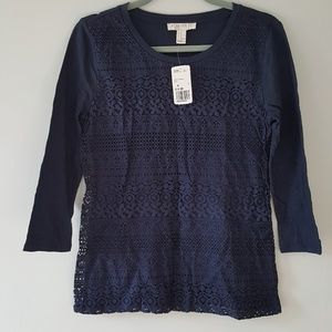 Forever 21 Lace Front Top Navy Tee T - Shirt